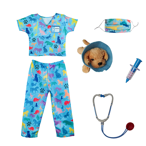 Set of 7 piece veterinarian dress up costume & accessories