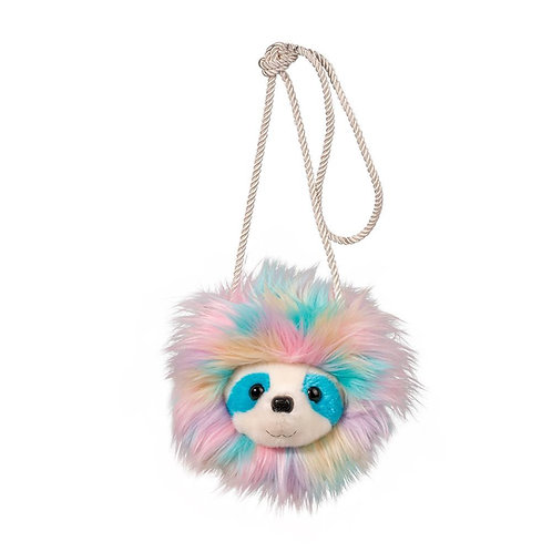 pink & blue fuzzy purse with a sloth face & pink cord shoulder strap