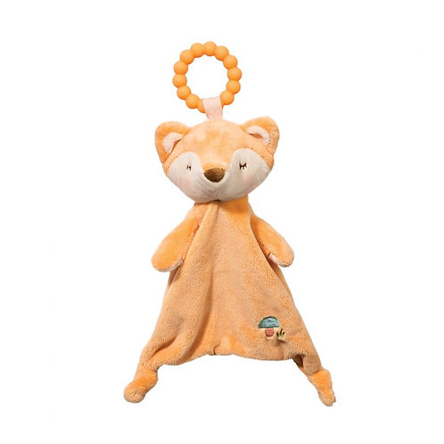 Soft light orange blanket toy in shape of fox with orange plastic teething ring attached to head