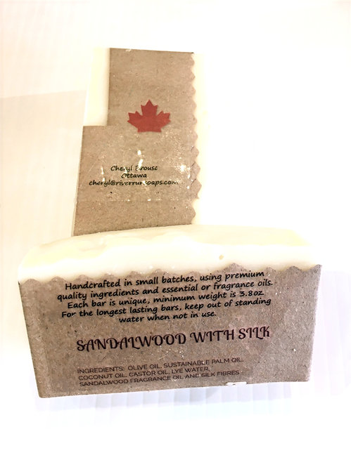 2 bars of lemongrass scented handmade soap in kraft paper wrapper printed with ingredients and Made in Canada