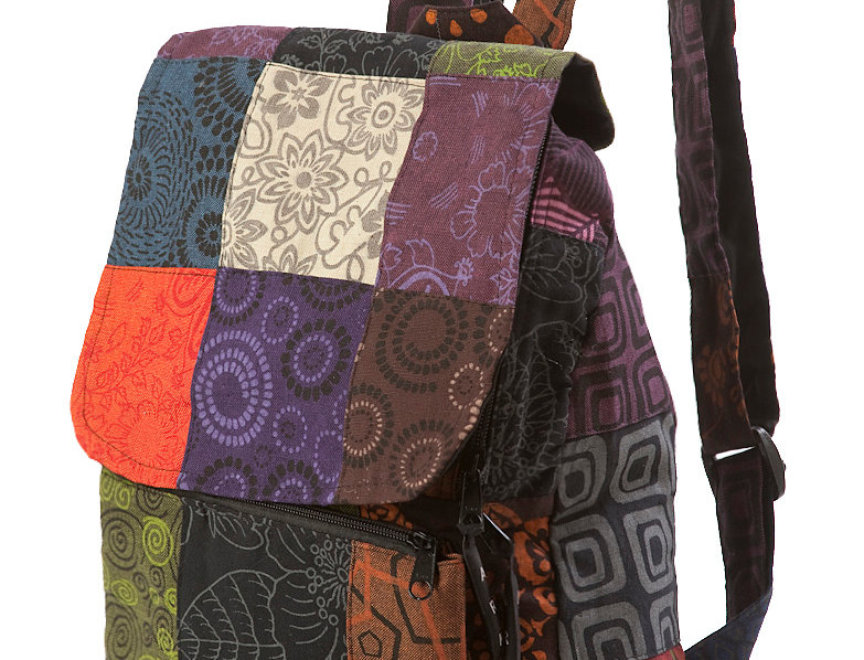 Ark Fair Trade Petite Patch Knapsack 2 adjustable straps multi coloured square patches
