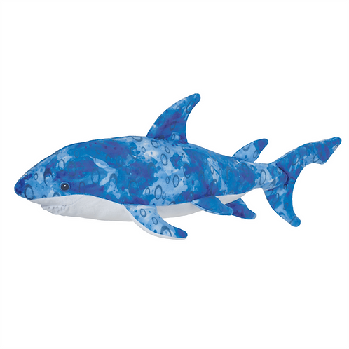 Blue & white shark stuffed toy
