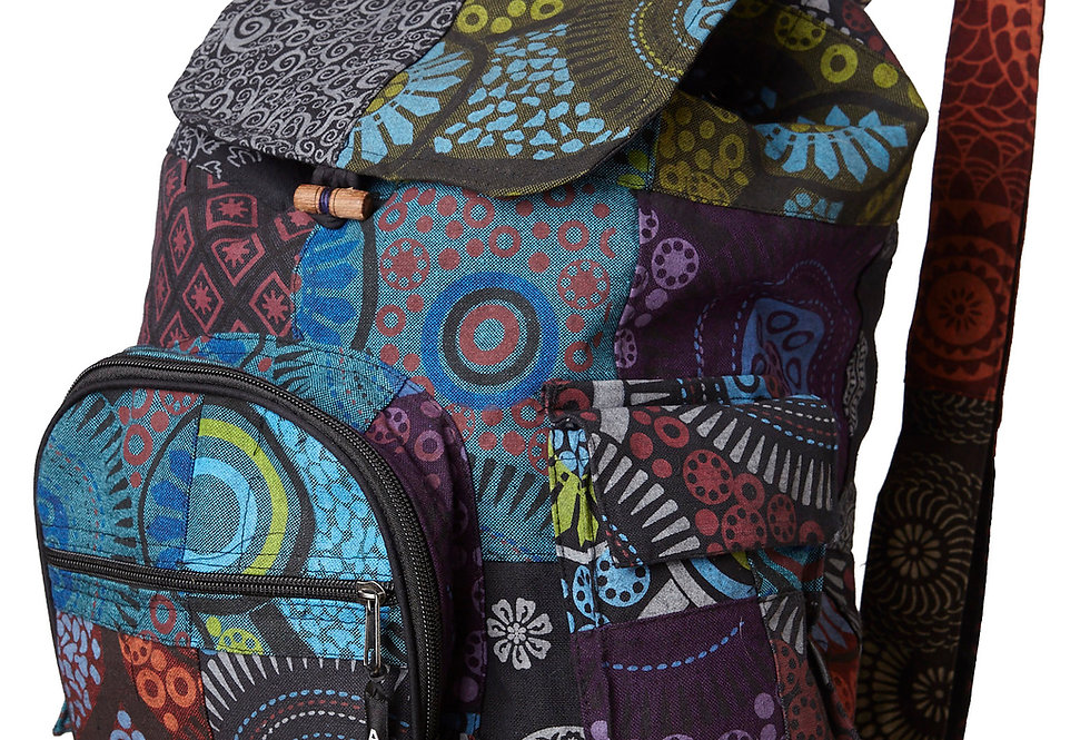 Ark Fair Trade Petite Patch Pocket Knapsack-zip front pocket-jewel tones multi colour print-wood toggle-adjustable straps