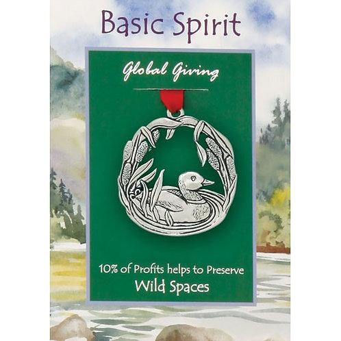 Basic Spirit Pewter Duck Global Giving Ornament