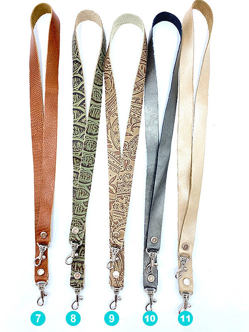 5 leather lanyards of various colours