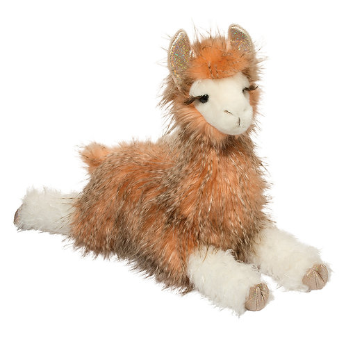 brown & white llama stuffed toy in lying position