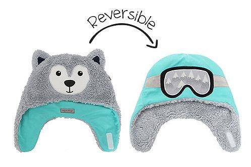 Aqua & gay reversible fleece/sherpa hats-wolf face on gray sherpa side-ski goggles on aqua fleece side