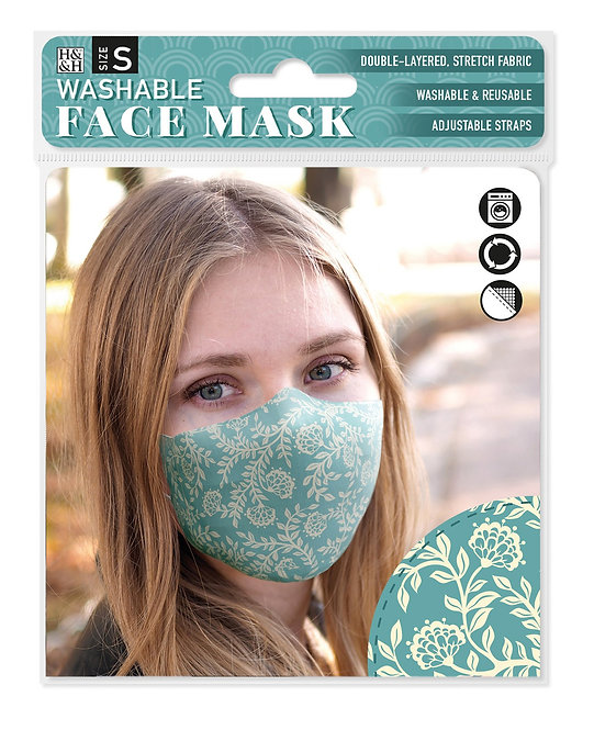 Packaging showing model wearing teal & pale yellow floral print mask