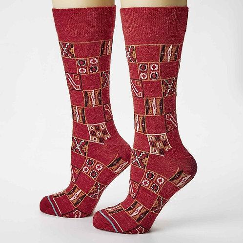 model wearing Peruvian Link Alpaca Socks Inca Collection - Paracas