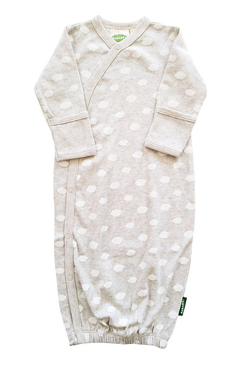 baby sleeping gown gray with white clouds print