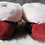 Pair of rose sheepskin slippers-front view