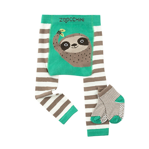 set of gray & white striped leggings with green trim & gray & black sloth face on the seat & matching socks