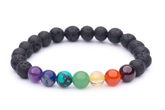 7 Chakra & Lava Bead Stretch Bracelet
