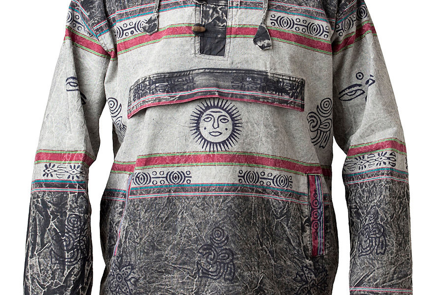 long sleeve pullover shirt 2-tone-gray-red with light gray stripe and sun motif on kangaroo pocket