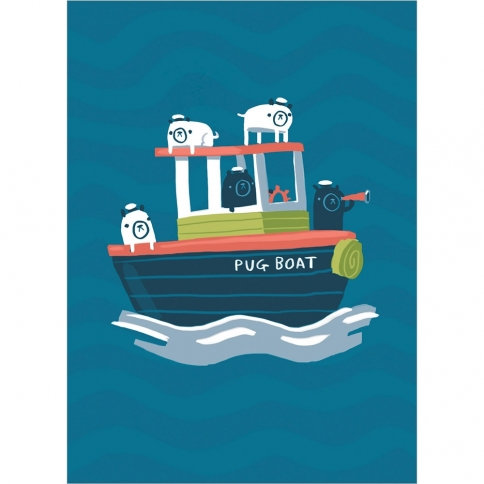 Front of blue card with little tug boat named Pug Boat -3 pugs aboard