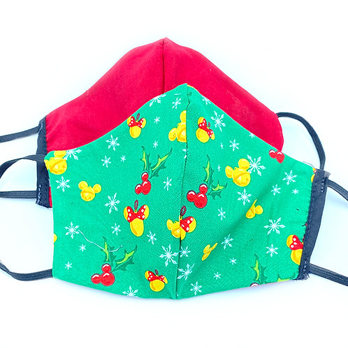 2 cotton face masks-green with red & yellow mouse-head & holly print- & solid red
