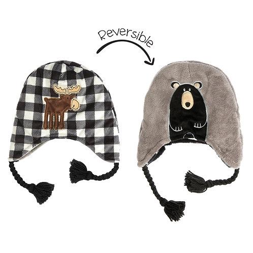 Flapjack Kids Reversible Hat - Black Moose / Beaver