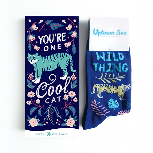 Navy card with green tiger-text 'You're one cool cat' & matching socks text 'Wild Thing'