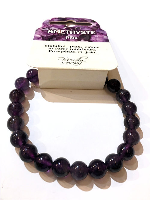 Close up of amethyst Natural Stone Bead Stretch Bracelet