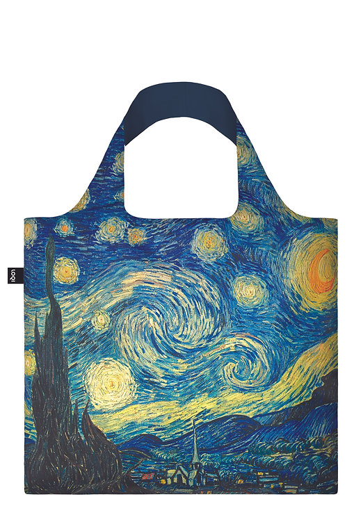 Blue & yellow reproduction of Van Gogh's The Starry Night on wide-handled shopping bag