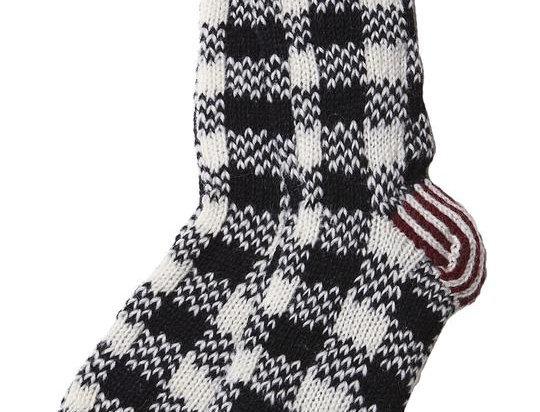 Knit wool knee sock/slipper-black & white checker pattern