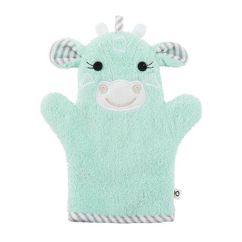 Mint green terry bath mitt with giraffe face & ears