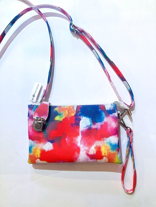 Water-color splashed mixed-color small rectangular purse #1