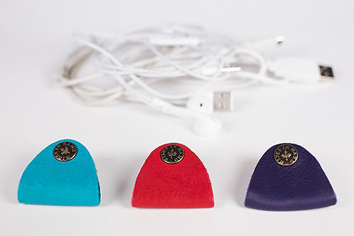 HIdes in Hand Leather Cord Keepers, turquoise, red and purple