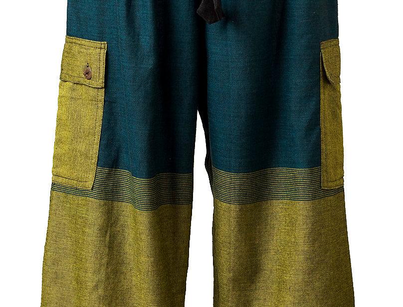 Fair trade loose fit pants-elastic waist-drawstring cinch ties at knee-2 outer pockets-large blocks of black teal & olive
