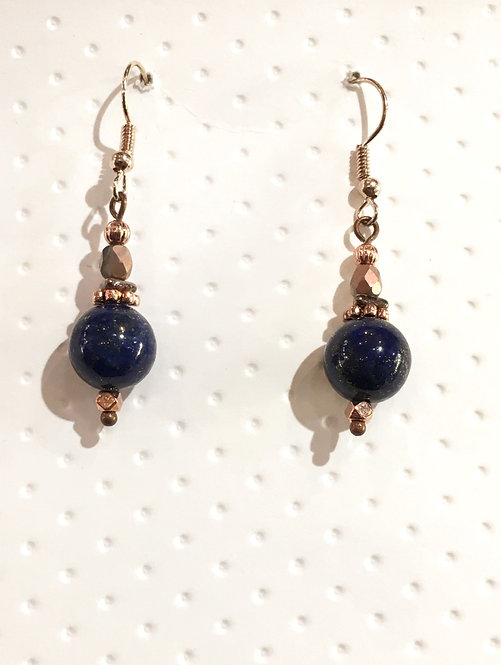 Rose gold earrings with 10mm lapis lazuli stones