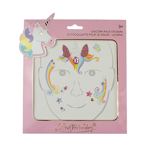 Package of pink unicorn fairy face stickers