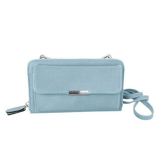 Blue wallet-style purse with long shoulder strap & detachable wristlet strap