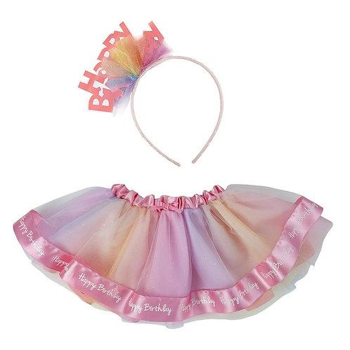 happy birthday headband and ruffled pink rainbow effect full tutu