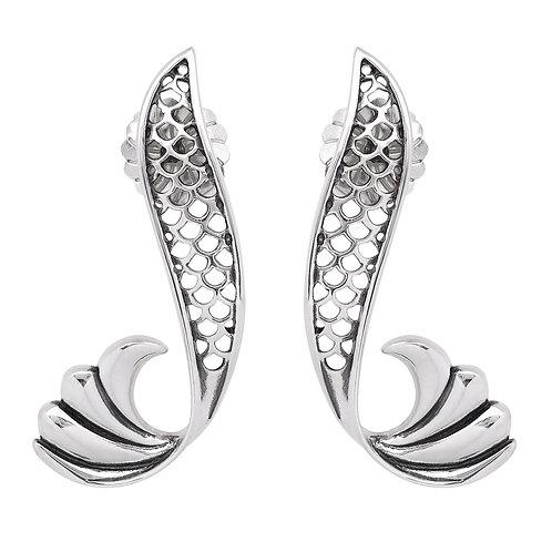 Pair of curved silver stud earrings in shape of mermaid's tail