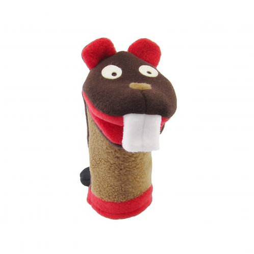 brown & red soft textile beaver hand puppet