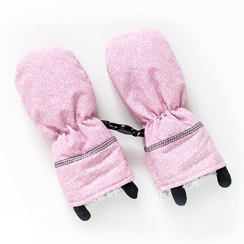 Pair of speckled pink & white baby mitts