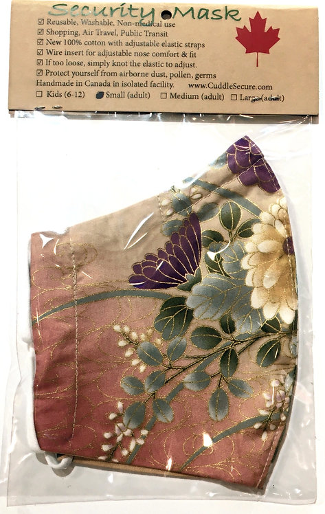 Clear package holding coral protective mask with elegant gold & burgundy floral print-right side