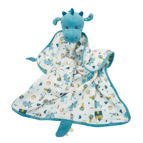 Blue & white swaddling blanket with stuffed dragon head & tail