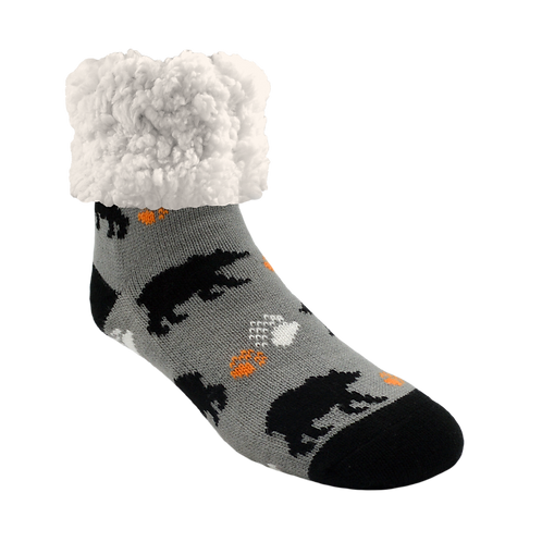 Gray slipper-sock with print of black bears-big white fleecy cuff