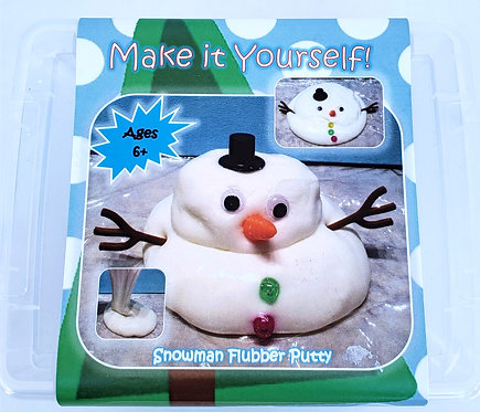 Top view of clear plastic box with label showing snowman flubber putty