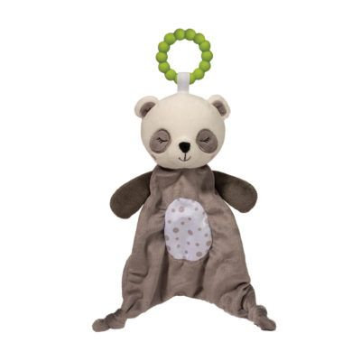 Soft gray & white blanket in shape of panda with green plastic teething ring attached to head