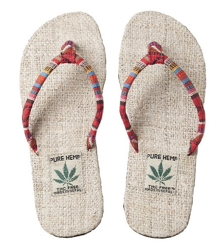 Ark Fair Trade Hemp Womens Sandals flip-flop style-red striped thong, natural sole-tag says PURE HEMP THC FREE MADE IN NEPAL