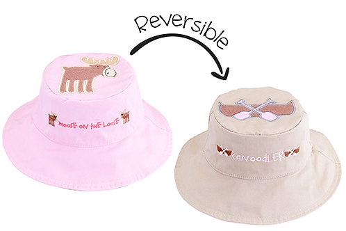 2 Flapjack Kids Reversible Sun Hats, left pink with brown moose, right tan with brown canoe & pink paddles