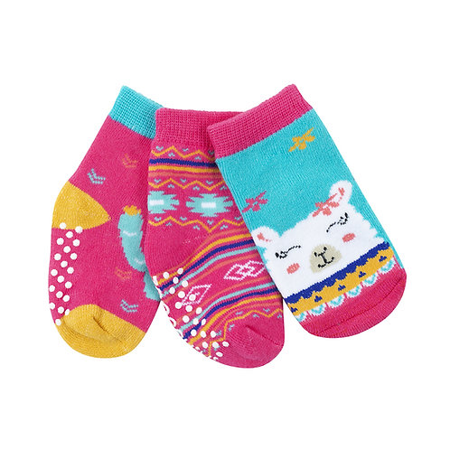 set of 3 pairs of laney the llama themed socks