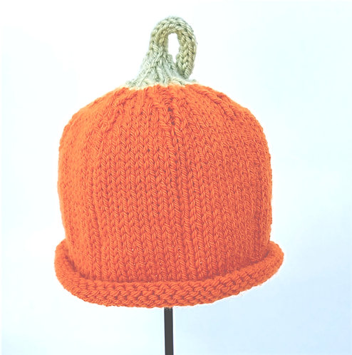 Orange Hand Knit Infant Hat with green stem on top to look like a pumpkin