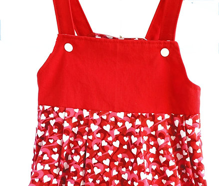 Handmade Red & white Reversible Dress, sleeveless with shoulder straps solid red, pink white and red hearts print skirt