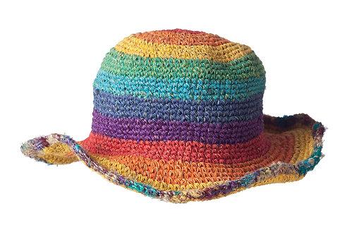 Fair Trade Hemp Sun Hat rainbow stripes