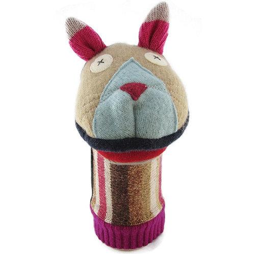 Wool hand puppet in shape of cat head & ears