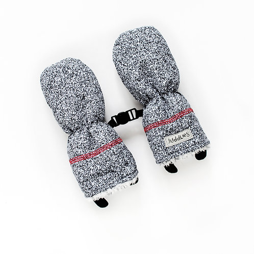 Pair of speckled black & white baby mitts