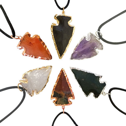 Nature's Expression Plated Arrowhead Pendants group of 6 different semi precious stones